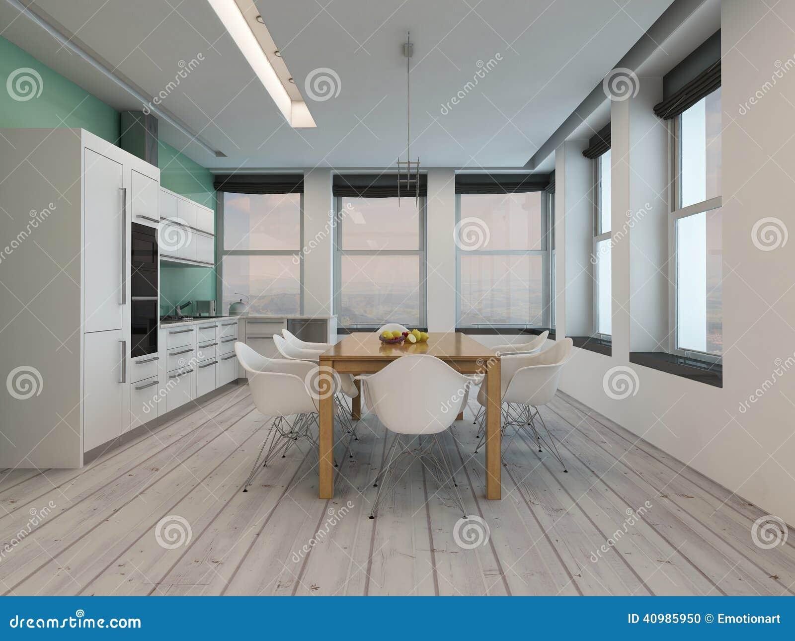 Interno moderno della sala da pranzo della cucina for Interno moderno