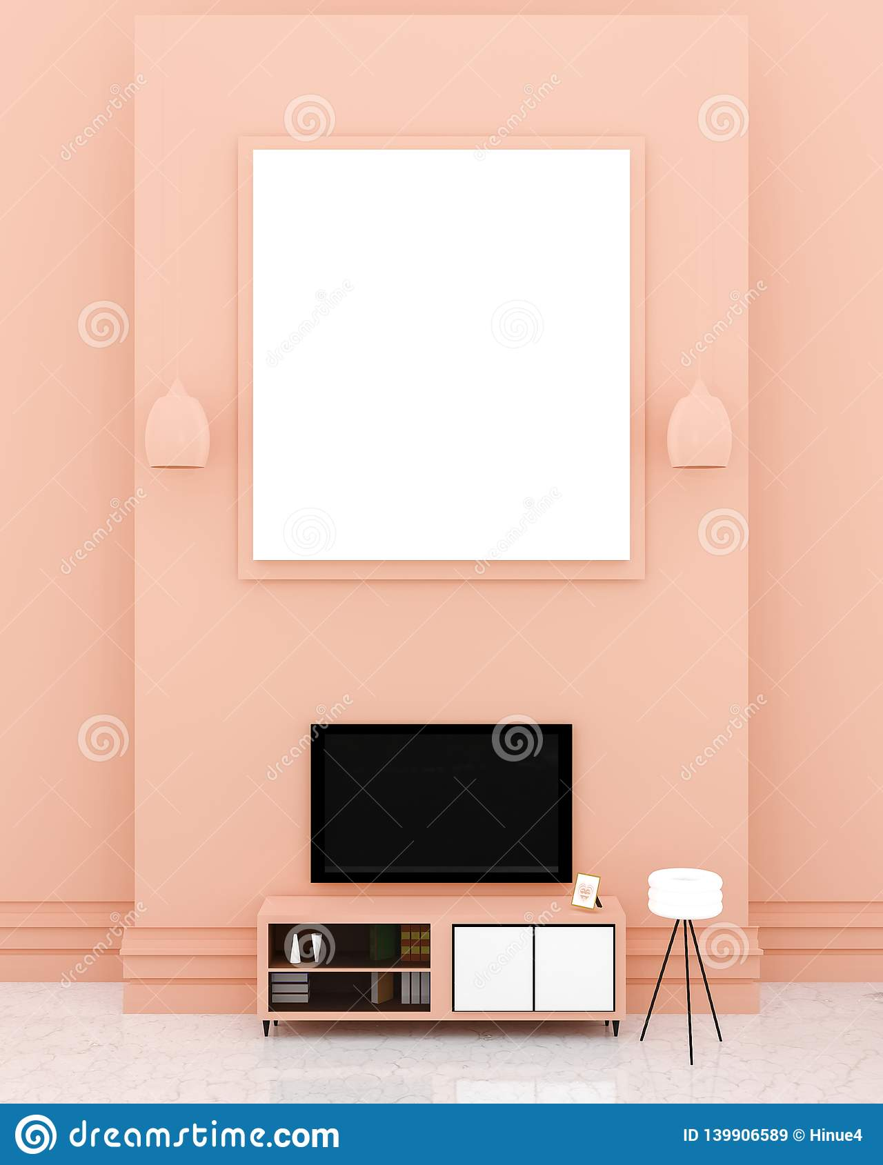 Interno moderno della sala TV con un grande bordo bianco su una parete arancio superiore