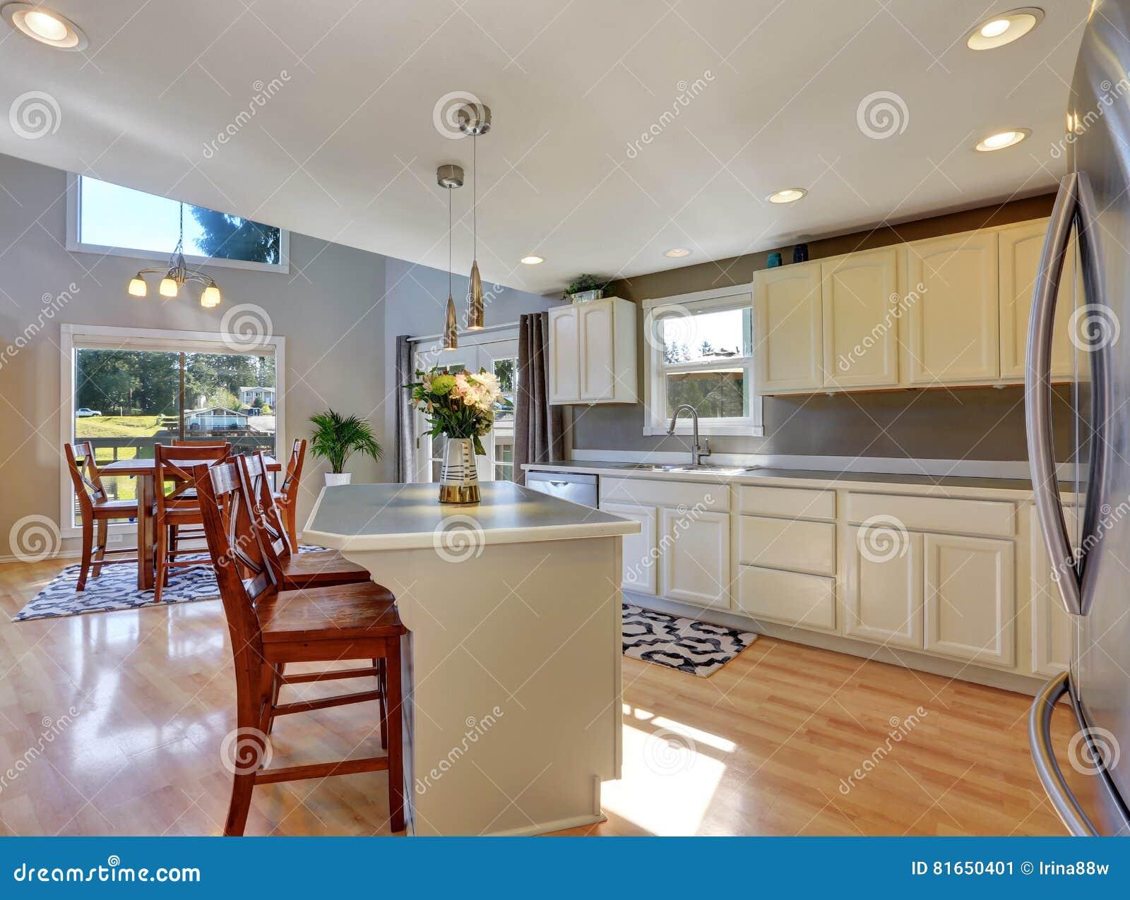 Interno moderno della stanza della cucina con l 39 isola di for Grande disposizione della stanza