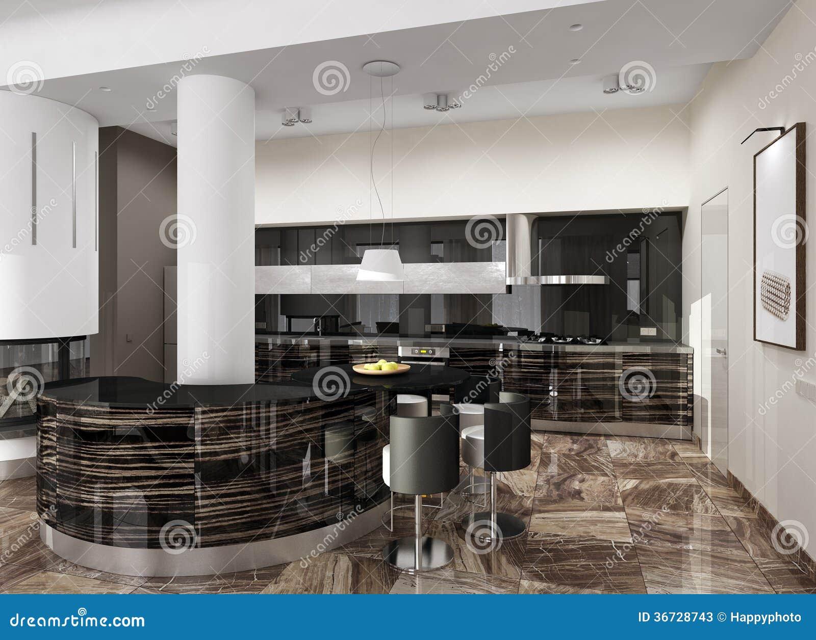 Interni Moderni Cucine : Interno moderno di lusso della cucina illustrazione di stock