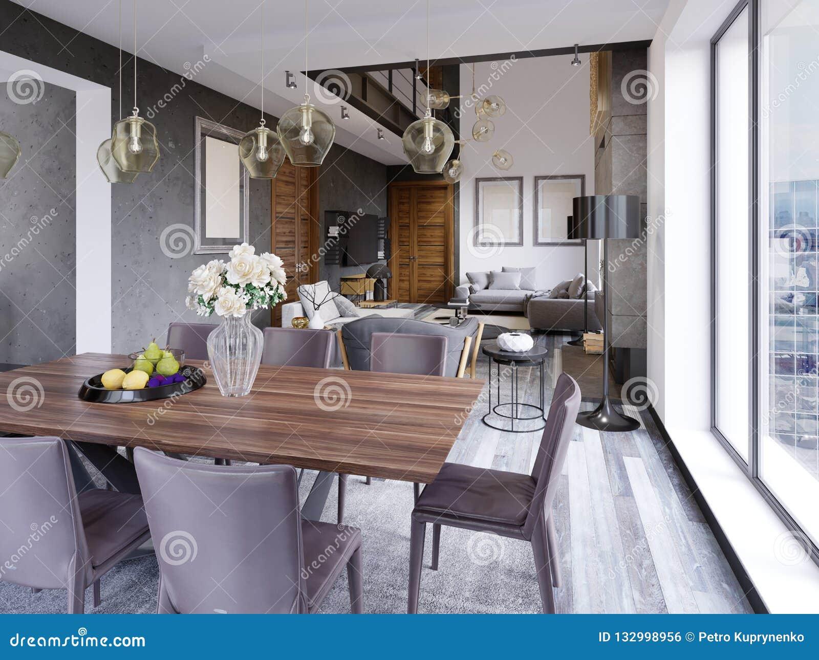 Interno moderno elegante della sala da pranzo Sala da pranzo nella casa di lusso Cucina, pranzare e salone dell appartamento del