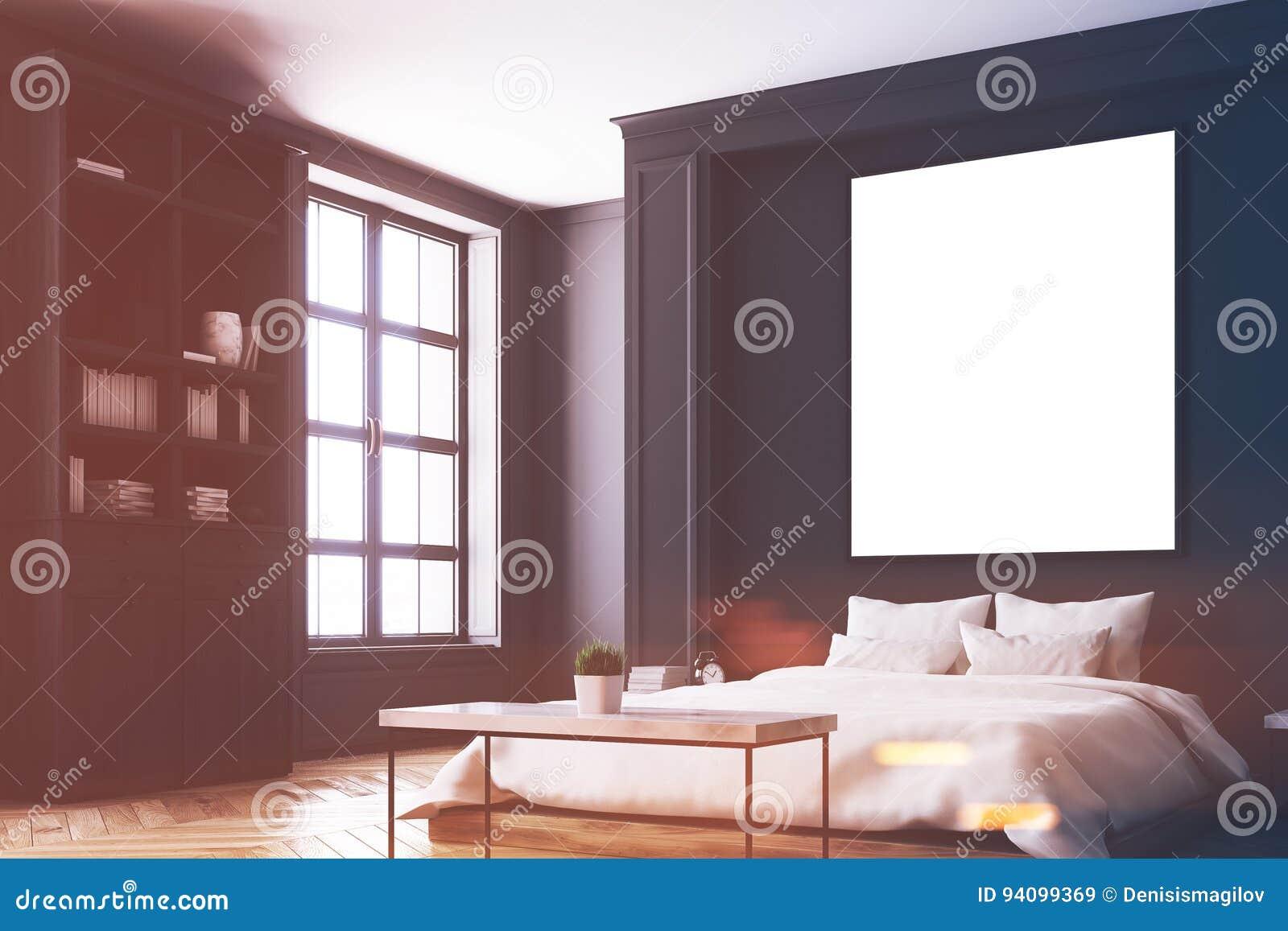 Angolo Del Letto : Interno nero della camera da letto angolo del manifesto tonificato