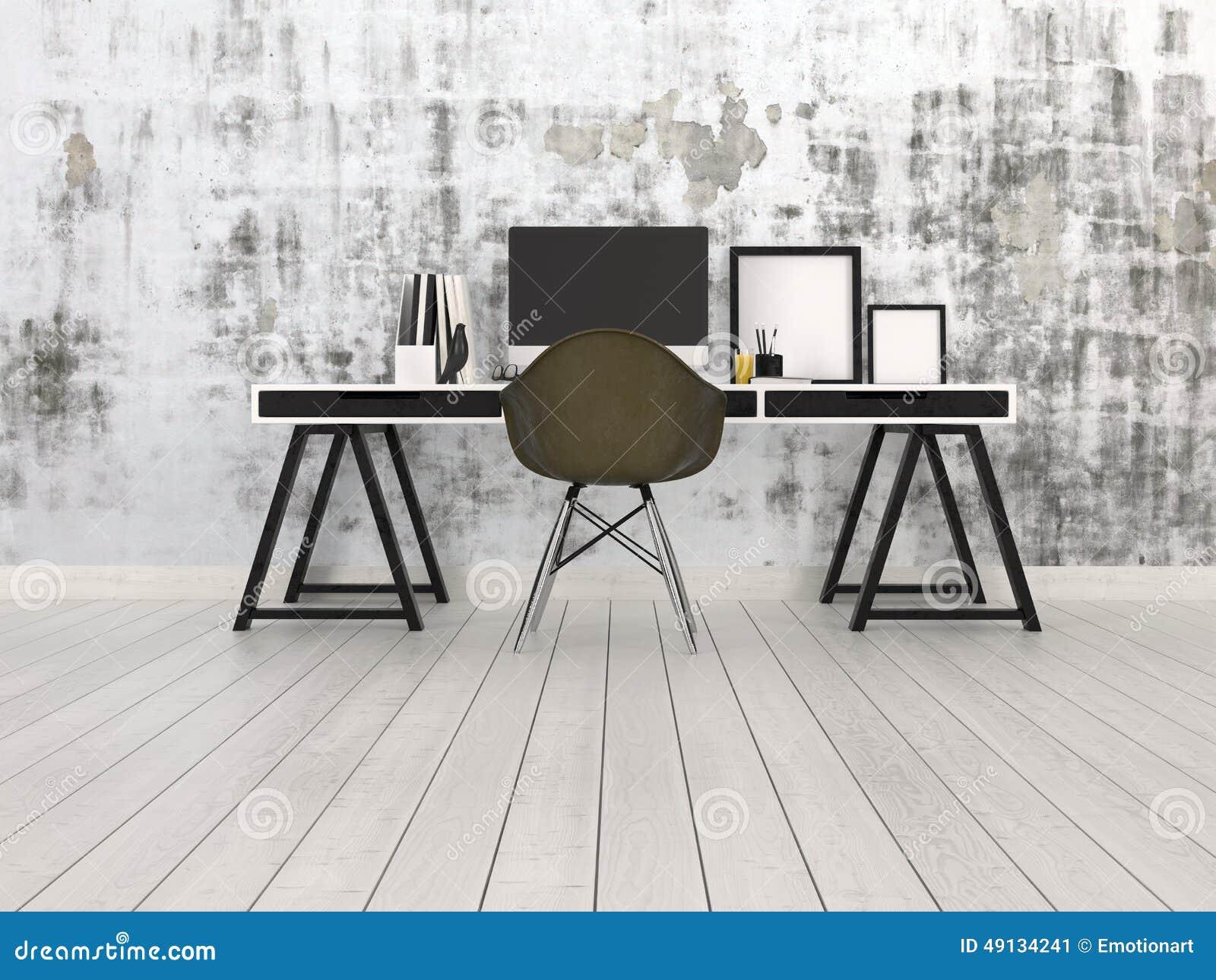 Ufficio Bianco E Grigio : Interno nero e grigio moderno dellufficio illustrazione di stock