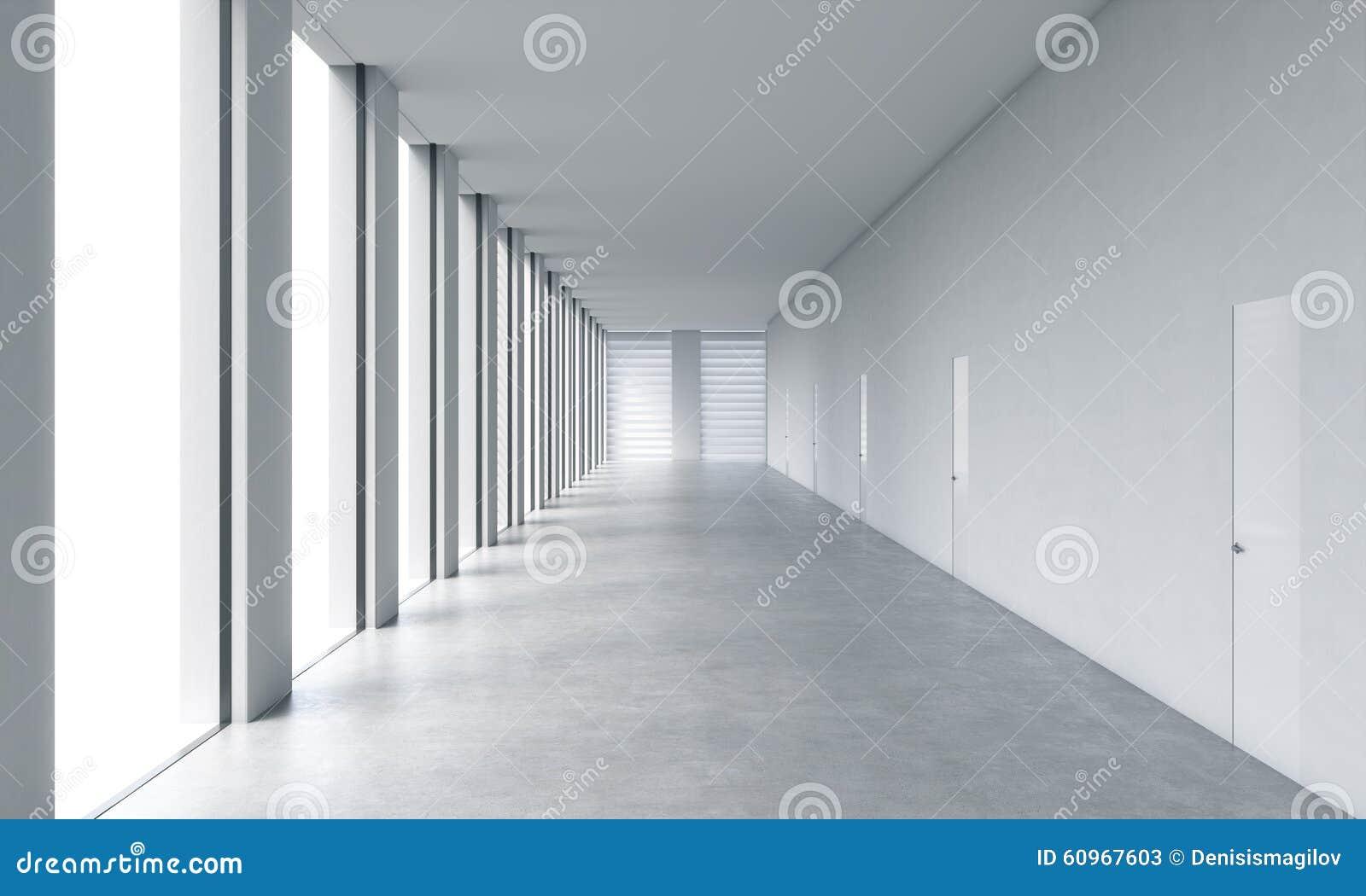 Interno pulito luminoso moderno vuoto di un ufficio dello - Finestre panoramiche ...