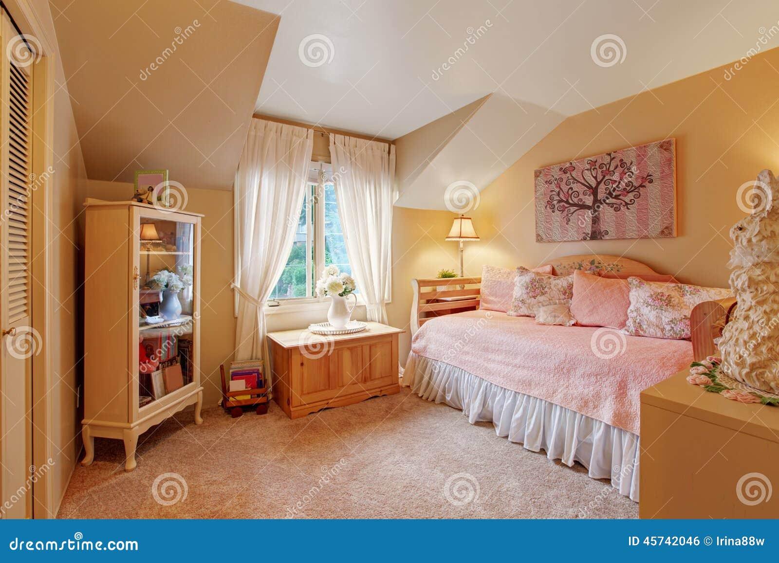 interno romantico della camera da letto delle ragazze nei toni ... - Interni Ragazze Camera Design