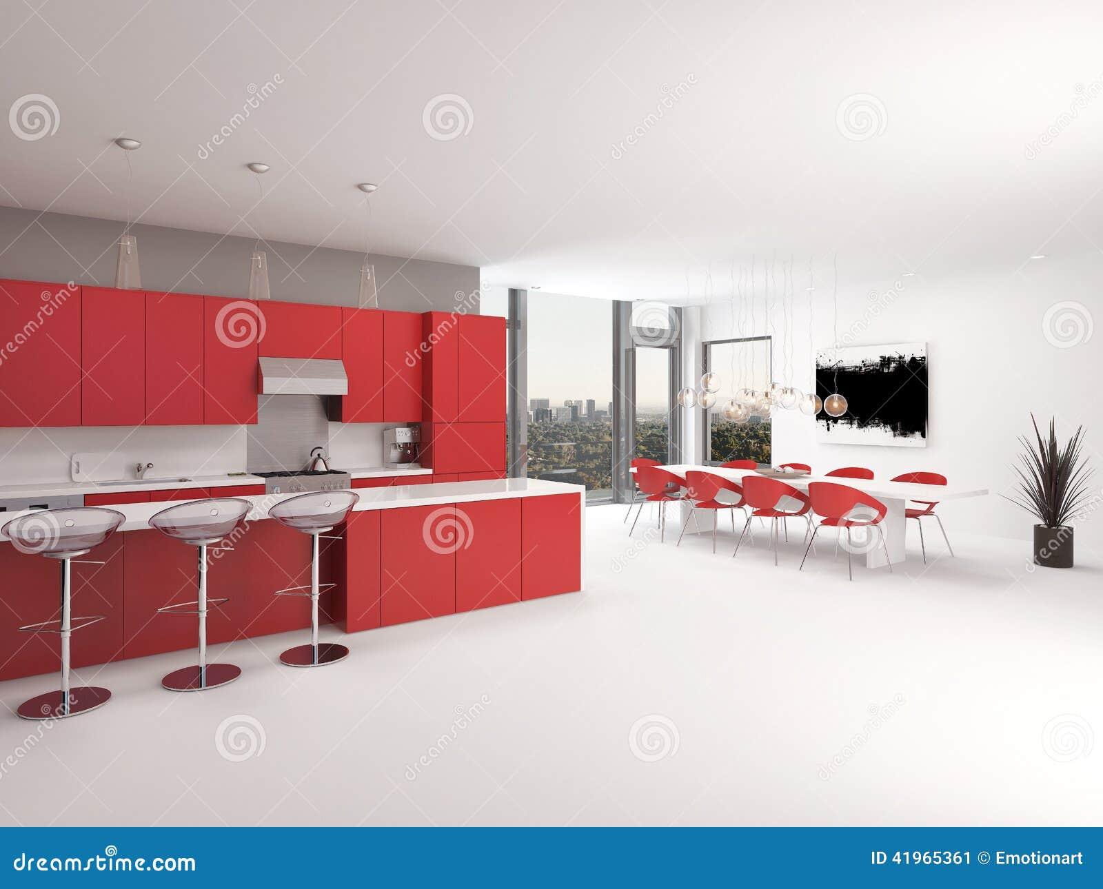 Interno rosso della cucina di piano aperto di progettazione moderna illustrazione di stock - Piano della cucina ...