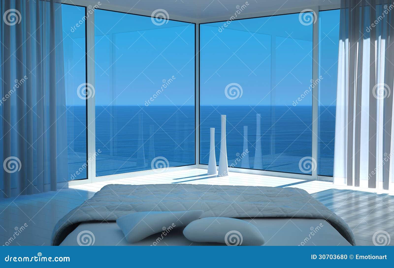 ... della camera da letto con la vista fantastica di vista sul mare