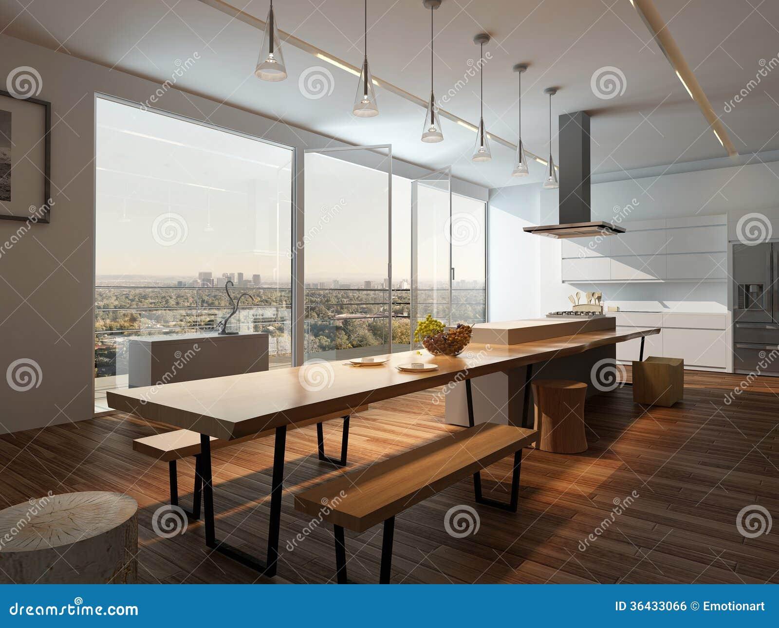 Interno soleggiato moderno della cucina con il pavimento di legno ...