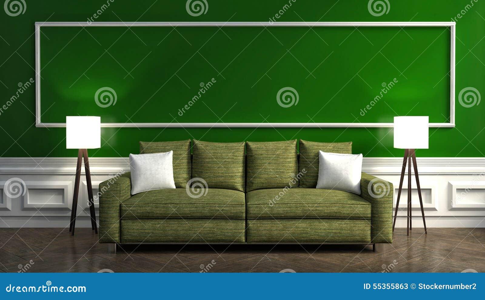 Interno verde classico con il sofà e la lampada illustrazione 3D