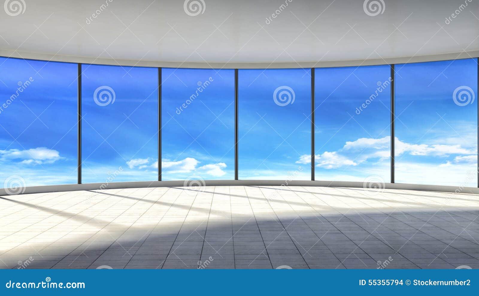 Interno vuoto bianco con la grande finestra illustrazione 3D