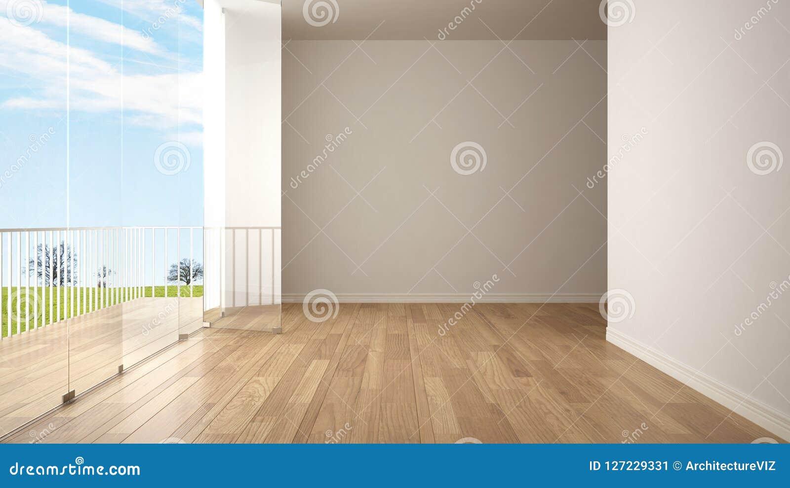 Interno vuoto con il pavimento di parquet ed il grande terrazzo