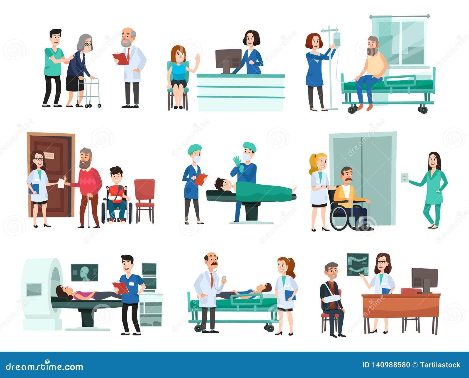 Internos Paciente hospitalizado en cama de hospital, enfermera y doctor que ayudan a vector aislado gente enferma de la historiet