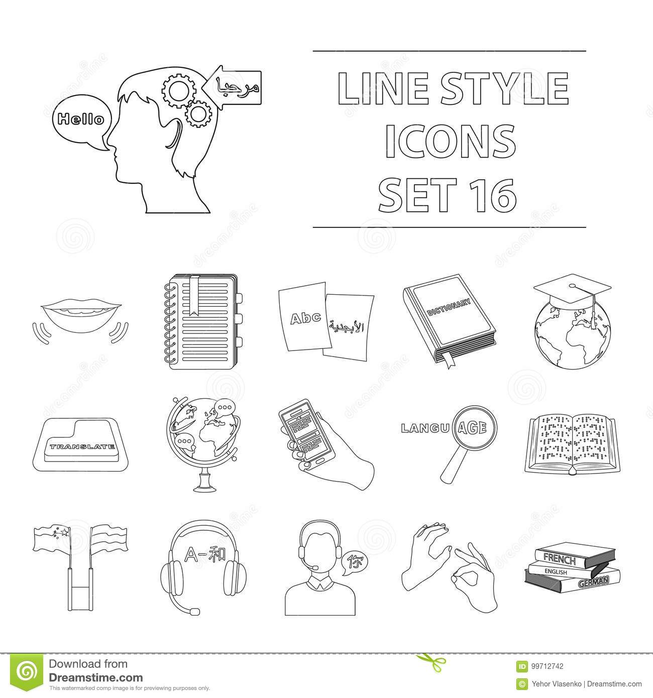 Interpreter And Translator Set Icons In Outline Style Big