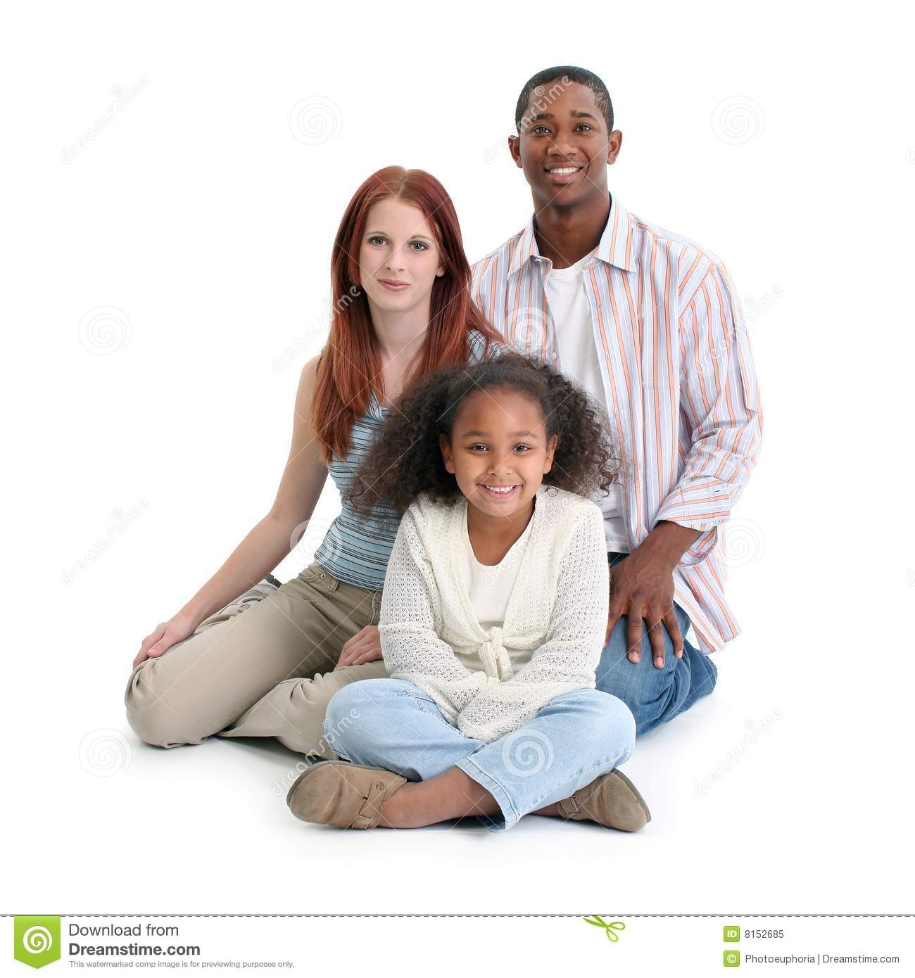 Interracial black and white family stock image image of child