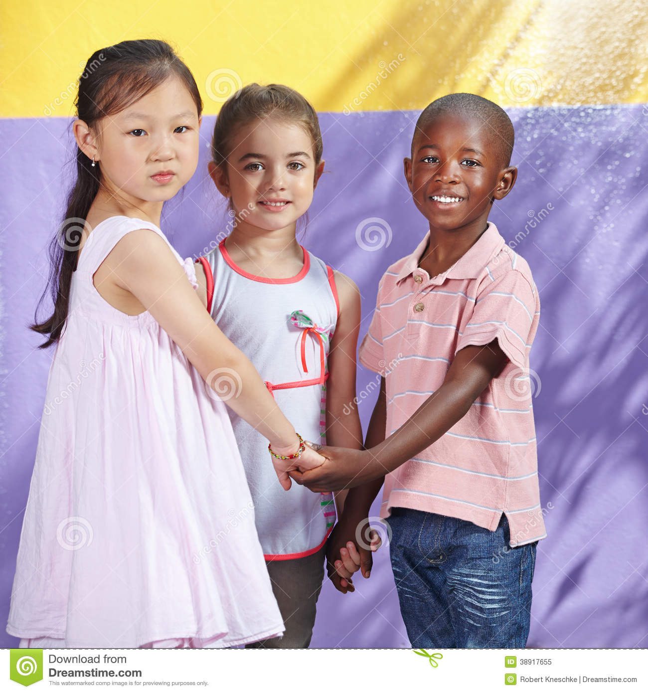 Interracial group of happy children