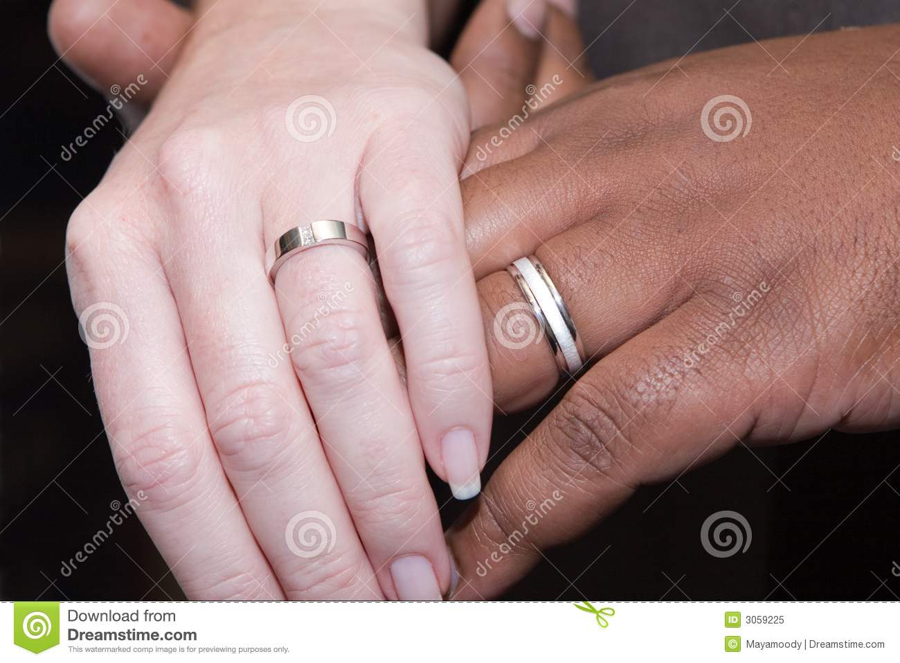 Interracial Hands With Wedding Rings Stock Image - Image ...