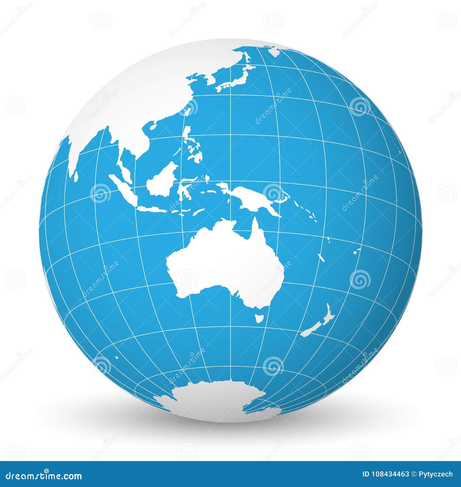Cartina Del Mondo Con Meridiani E Paralleli.Interri Il Globo Con La Mappa Di Mondo Bianca E Mari Ed