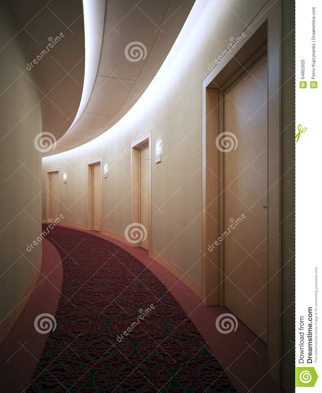 Bright Corridor With Beige Doors Royalty-Free Stock Image ...