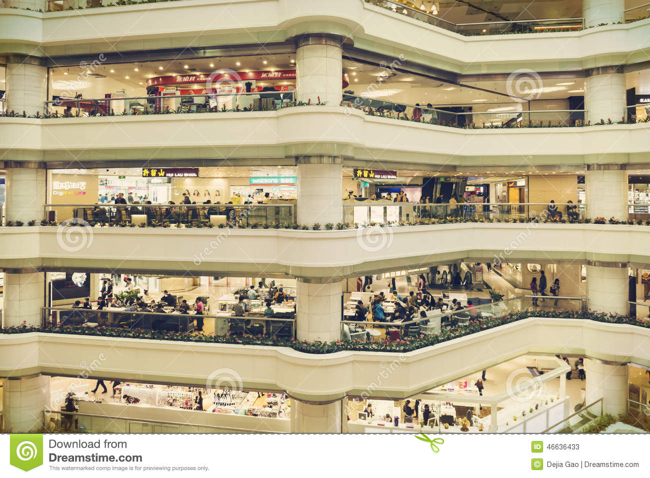 shopping mall with stores,
