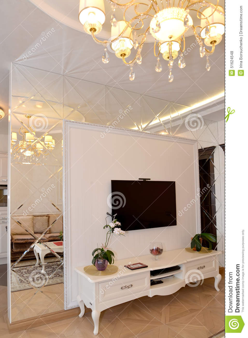 Interroom mirror wall partition in a living room modern - Meuble separation entree salon ...