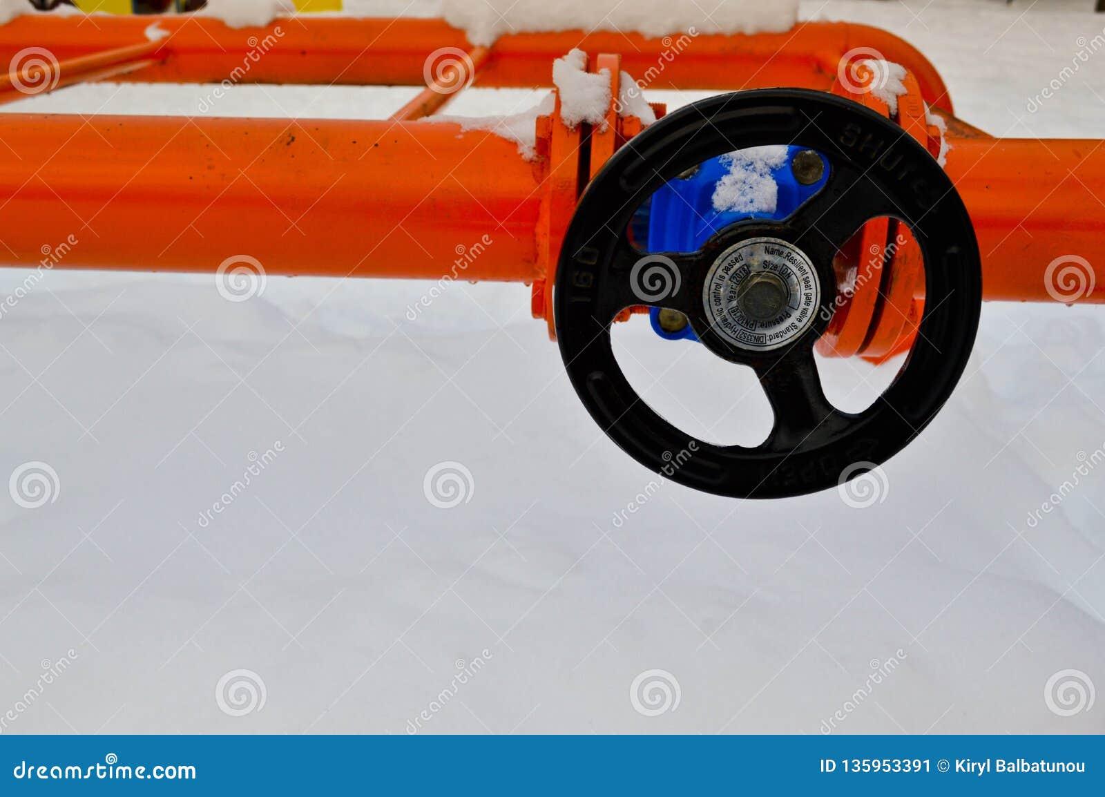 Interruption industrielle réglant la valve noire protectrice de garnitures de tuyau pour s ouvrir, se fermant sur un tuyau orange