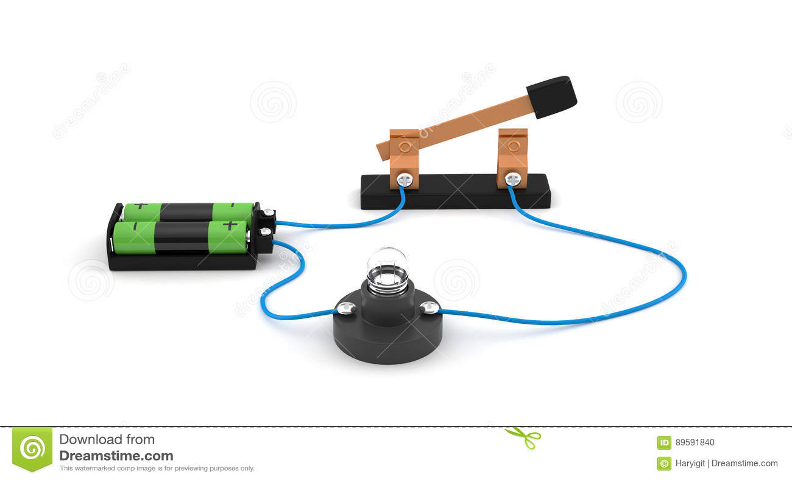 Circuito Que Tenga Un Interruptor Una Pila Y Una Bombilla : Interruptor abierto de la demostración del circuito