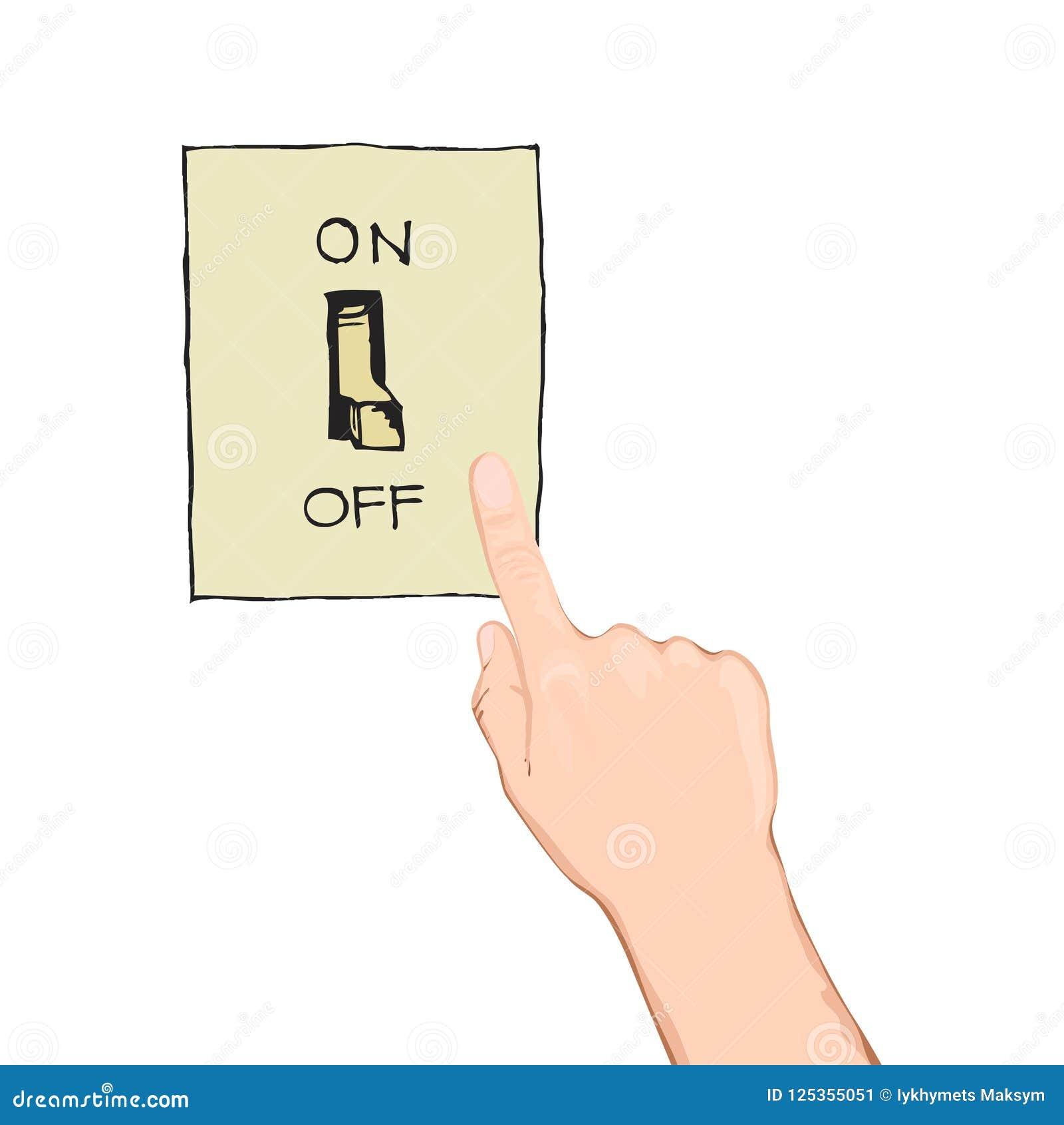Interruptor de alavanca Conceito de controle bonde projeto gráfico de vetor Ícone isométrico Mão que gira sobre a luz