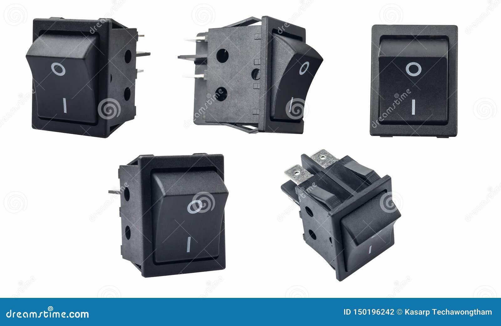 Interruptor de eje de balancín o interruptor micro con./desc. en el fondo blanco utilizado en protectores de sobretensiones, moni