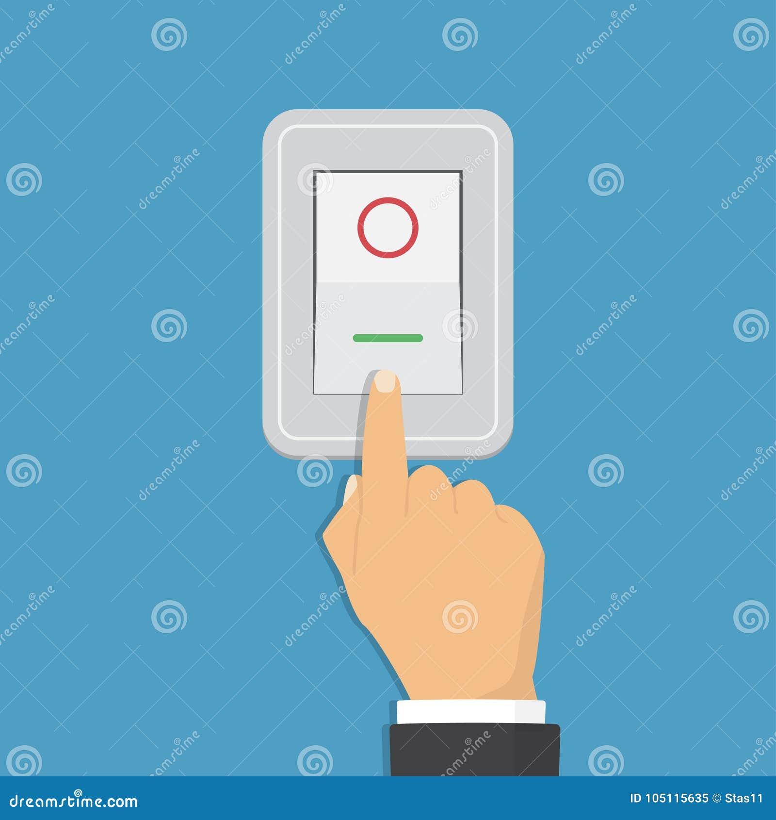 Interruttore basculante Concetto di controllo elettrico progettazione grafica di vettore Icona isometrica Mano che accende la luc