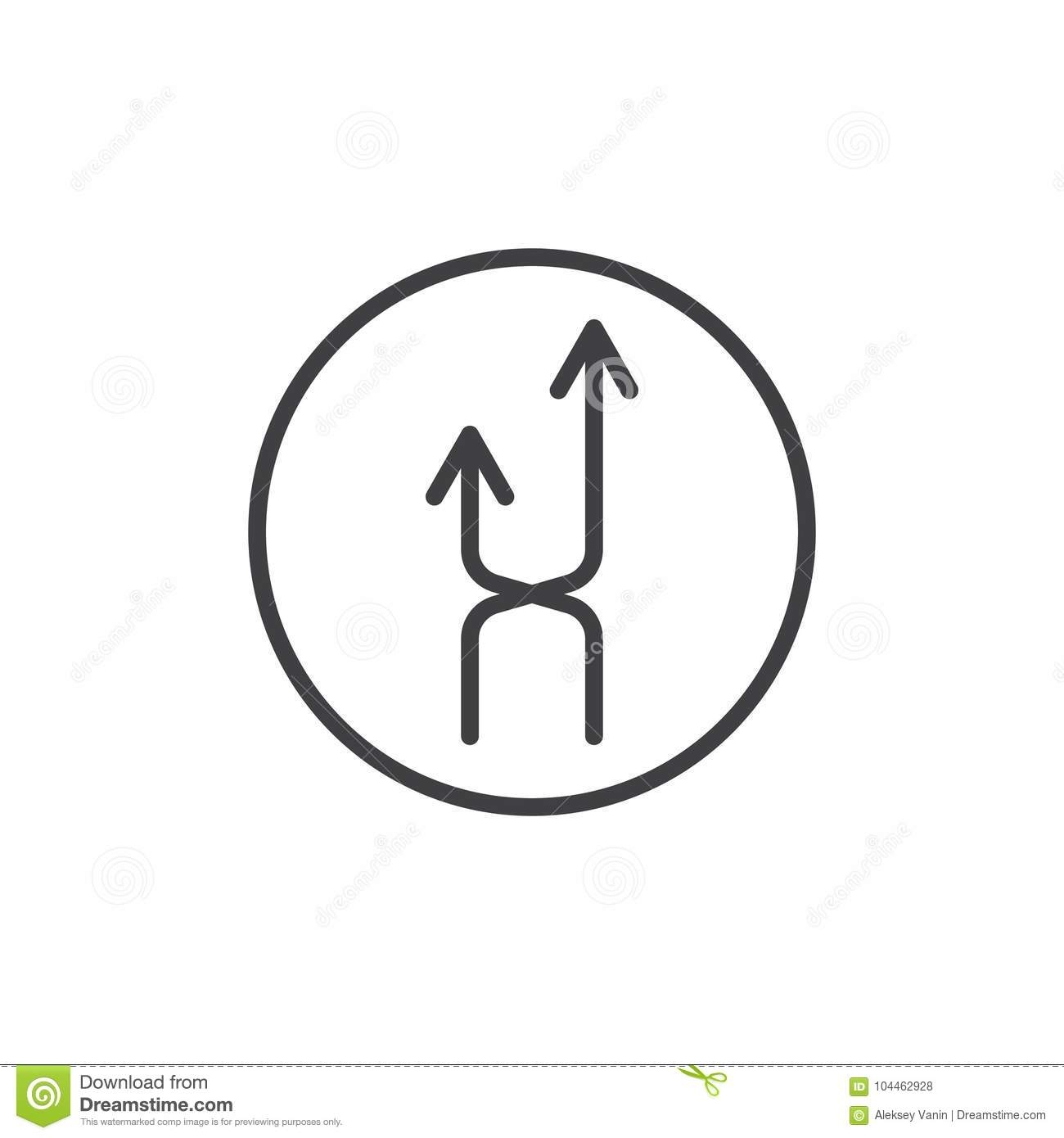 Intersection Arrows Line Icon Stock Vector Illustration Of Recycle