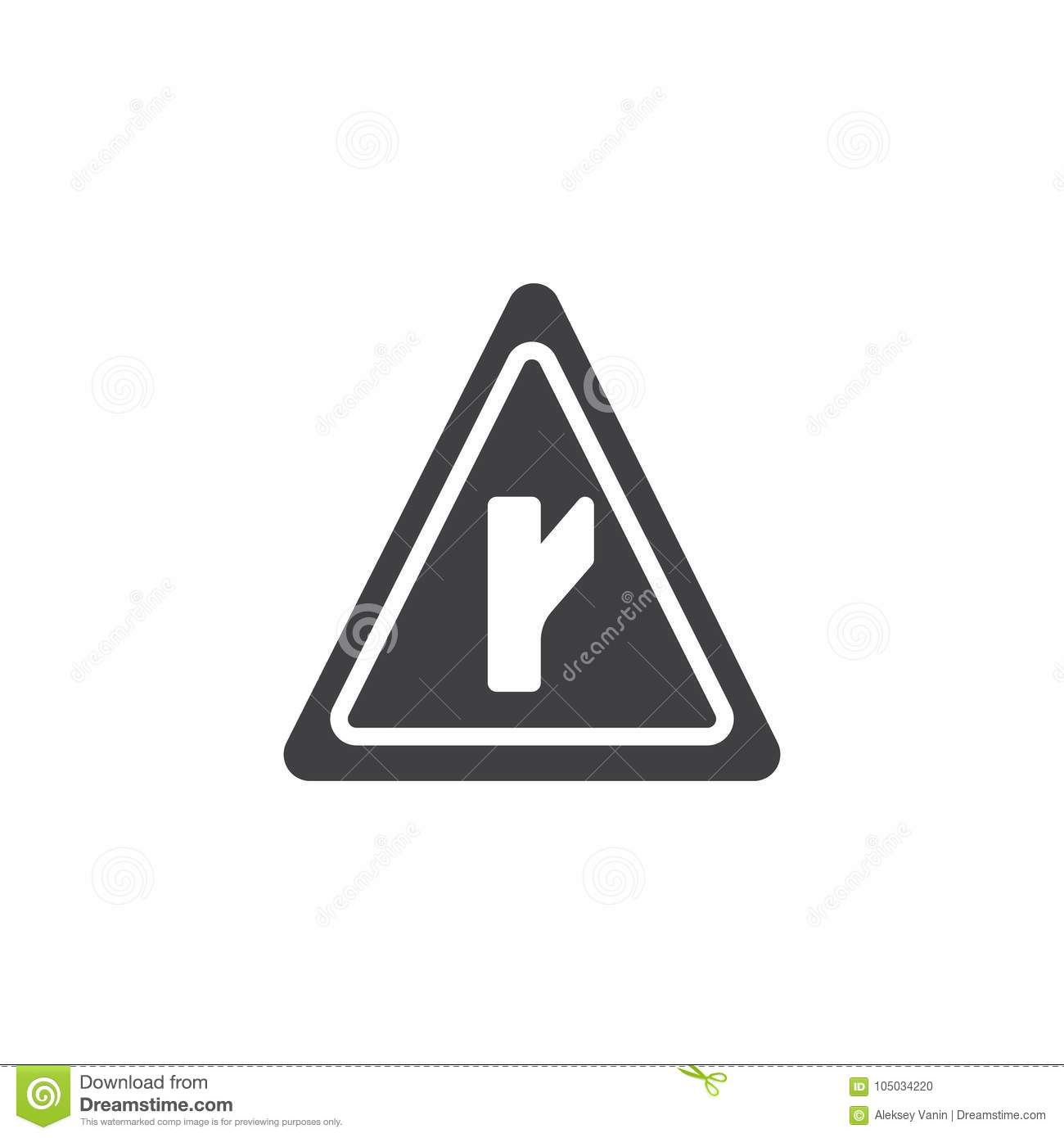 Intersection Road Signs Icon Vector Stock Vector Illustration Of