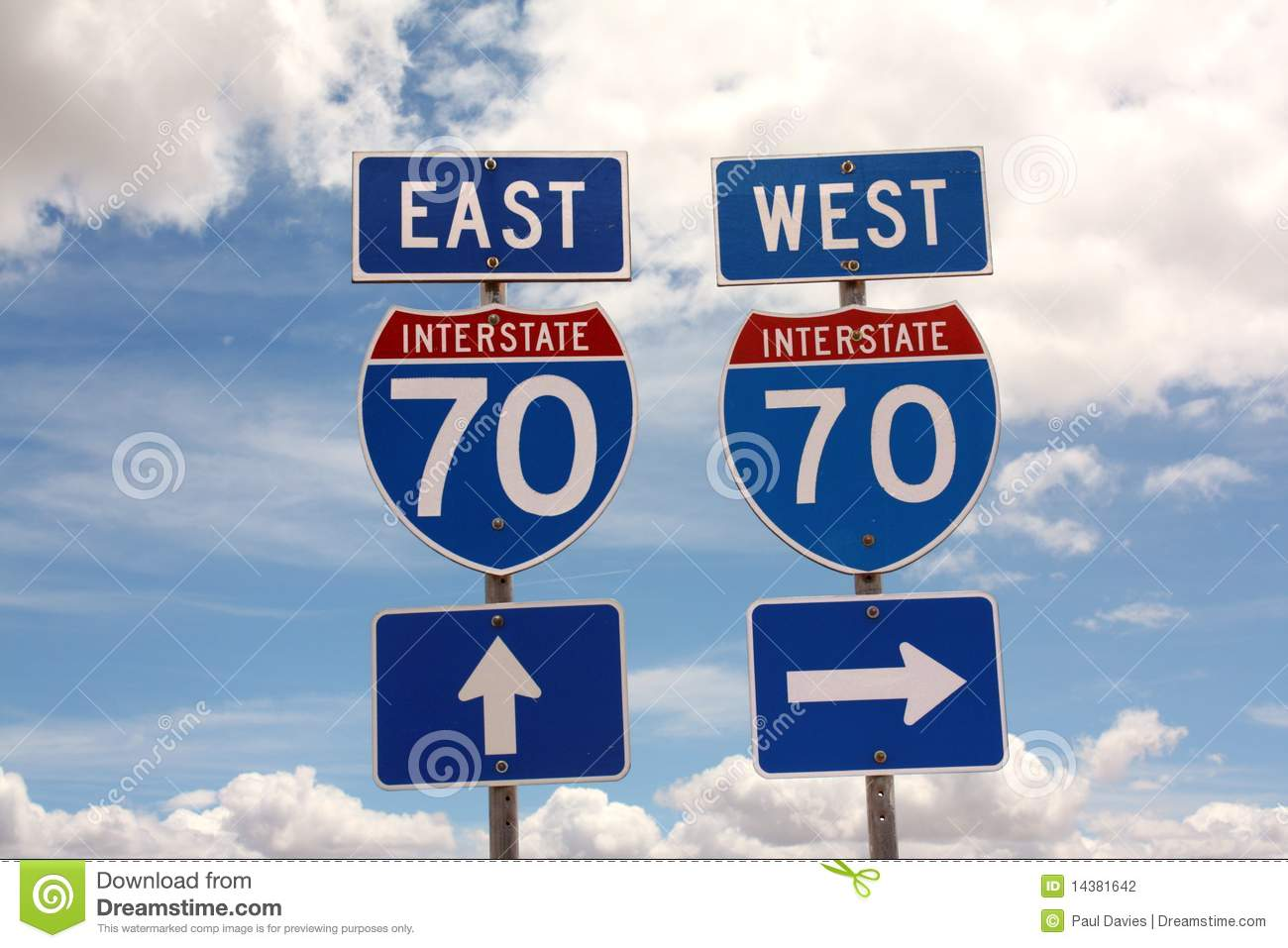 Interstate  Road Signs Stock Photography Image - Us map interstate 70