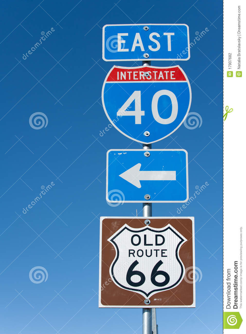 Interstate I-40 sign stock photo  Image of freeway, east