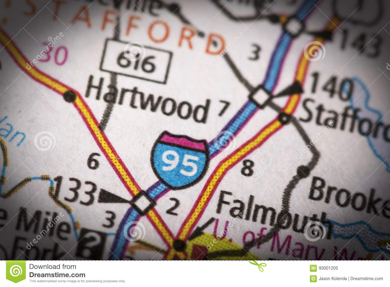 Interstate 95 In Virginia On Map Stock Image Image Of Geography