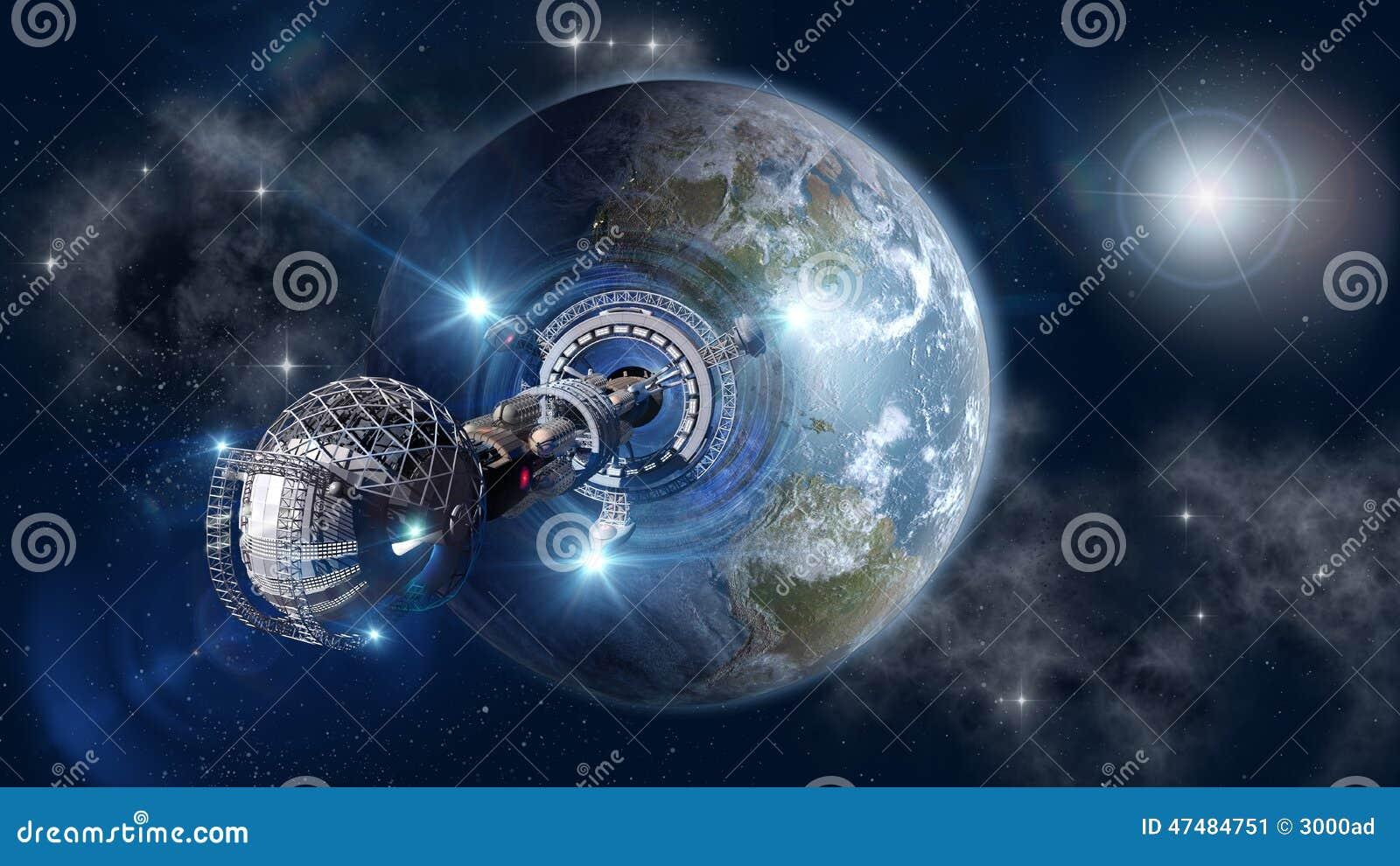 Futuristic travel exploring the universe