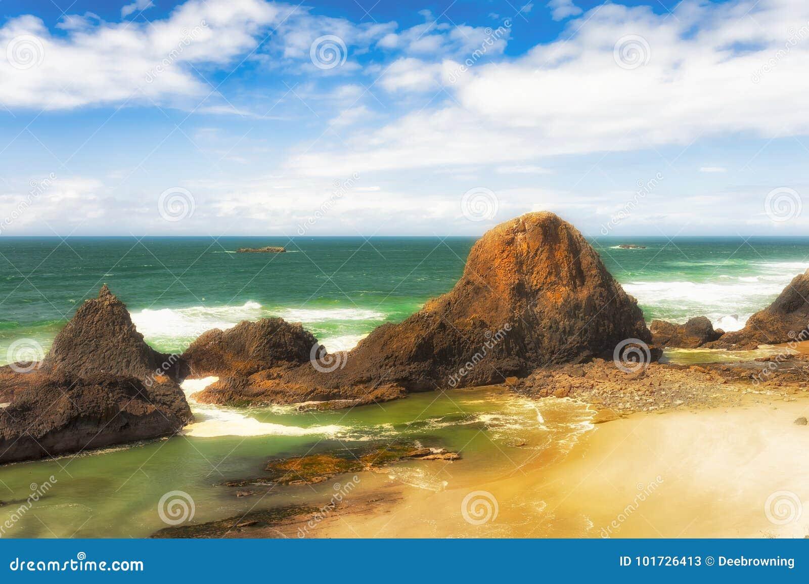 Intertidal Rotsen op het Strand van de Verbindingsrots