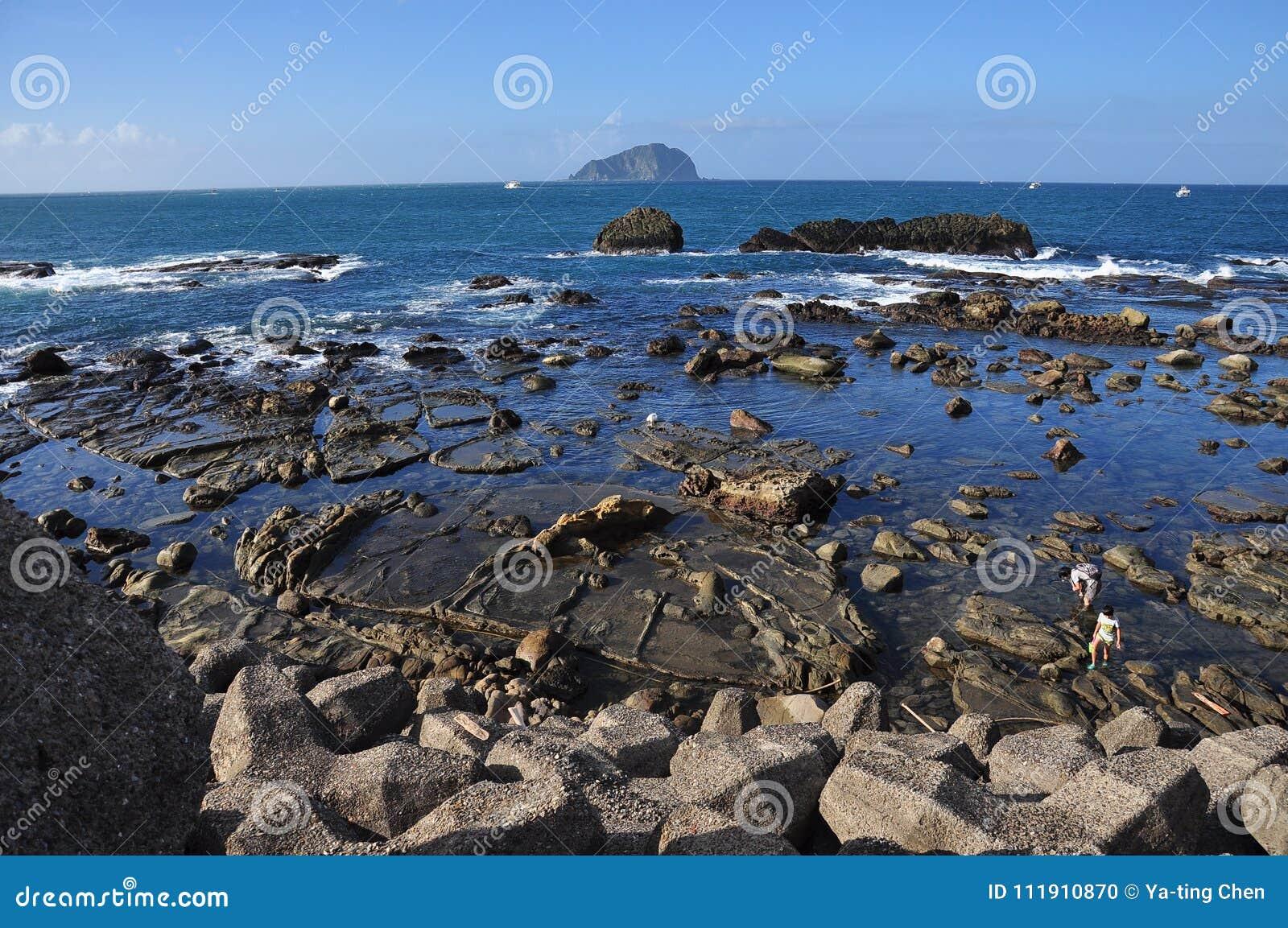 Intertidal Streek van Badouzi, keelung stad, Taiwan