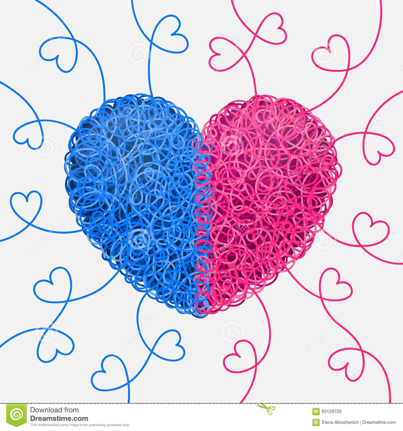 Intertwined blue and pink heart vector illustration for A decoration that is twisted intertwined or curled
