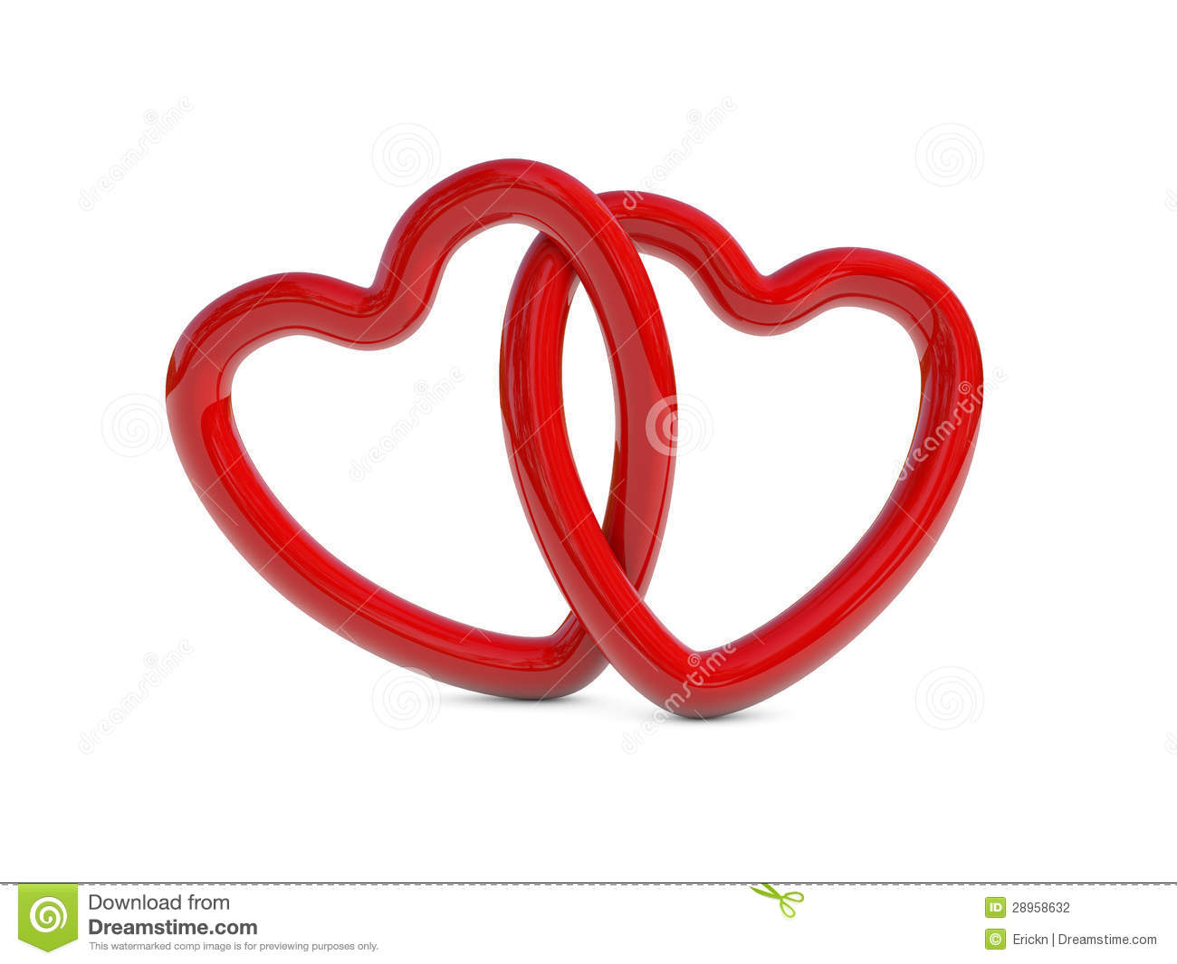Intertwined Red Heart Rings Stock Photography - Image ...