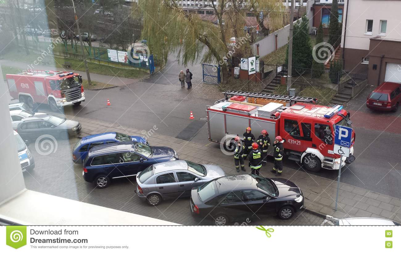 The intervention of the fire brigade
