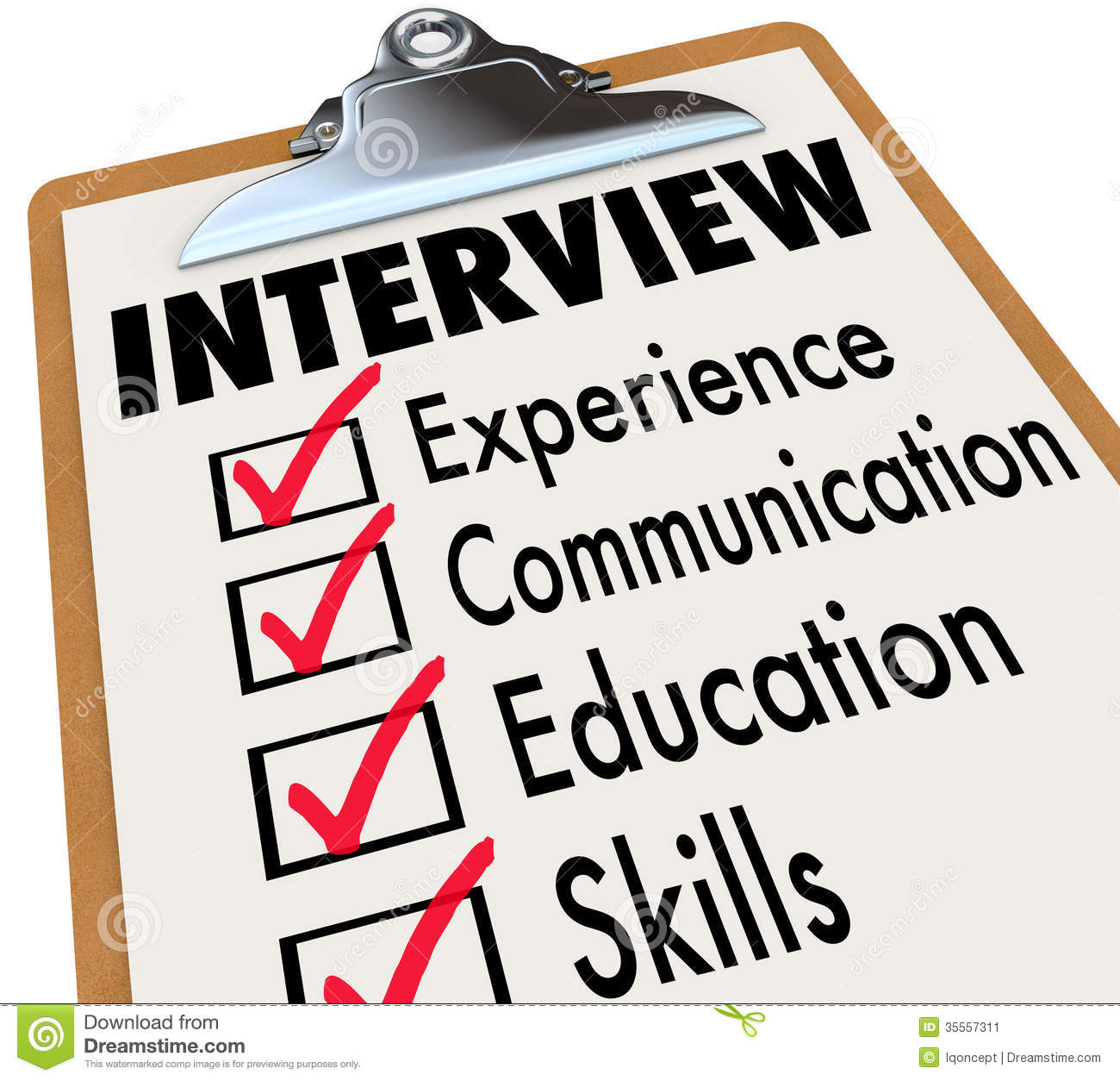 interview checklist job candidate requirements stock