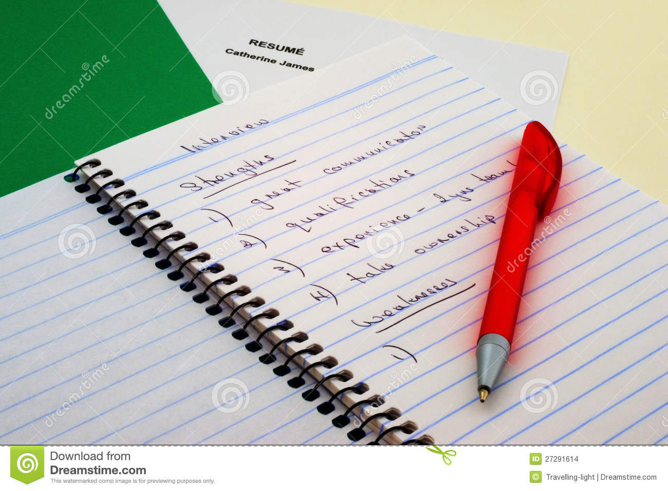 interview notes stock images