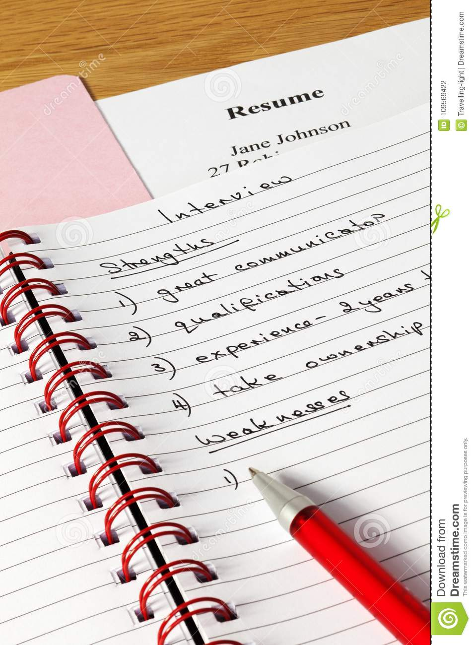 interview notes concept stock photo image of notes 109569422