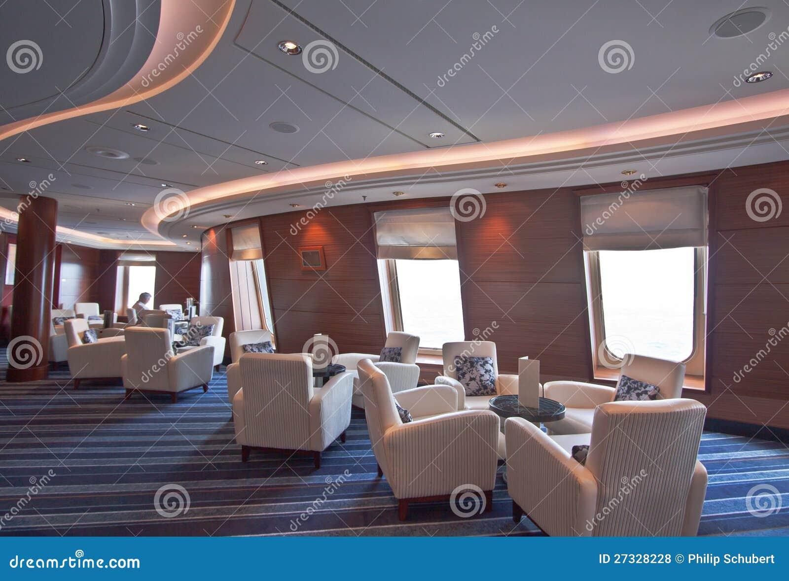 Intimate elegant lounge on luxury cruise liner