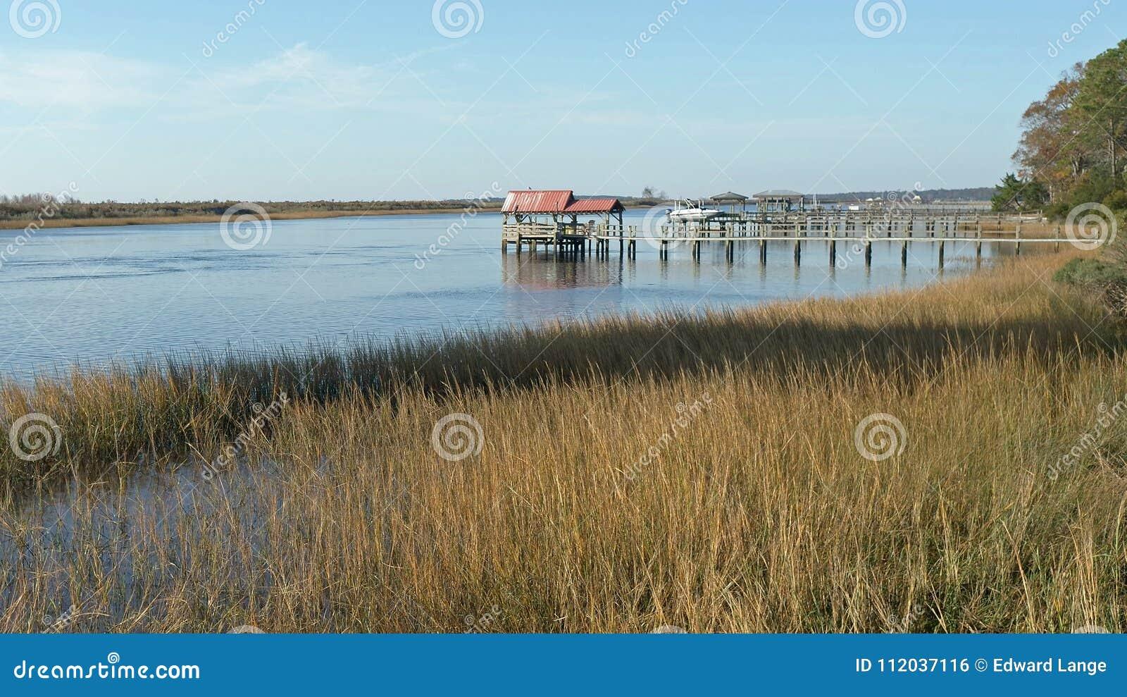 Intracoastal Waterway Boat Docks On A Sunny Day Stock Photo