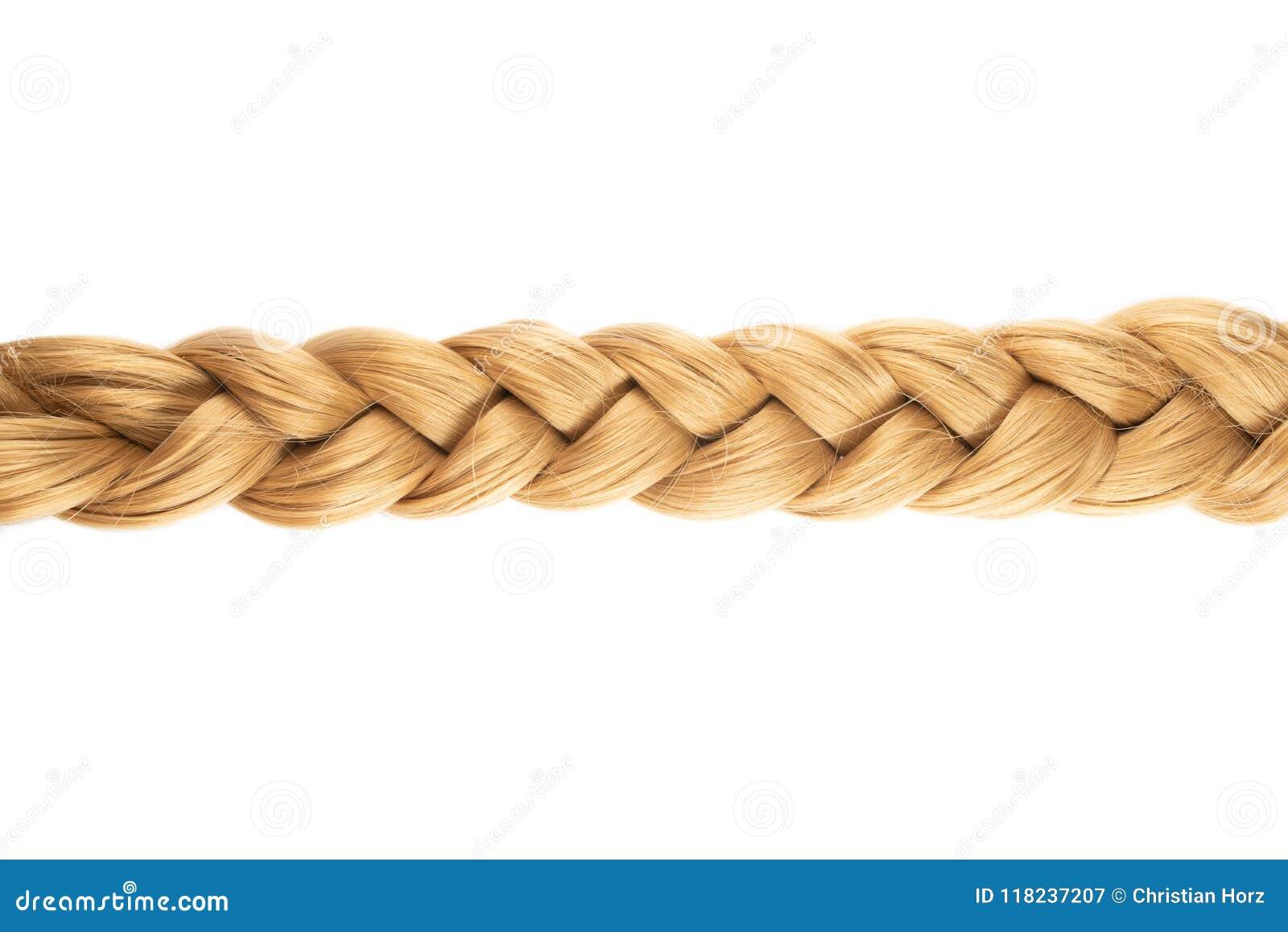 Intrecciatura o treccia bionda di capelli biondi su fondo bianco