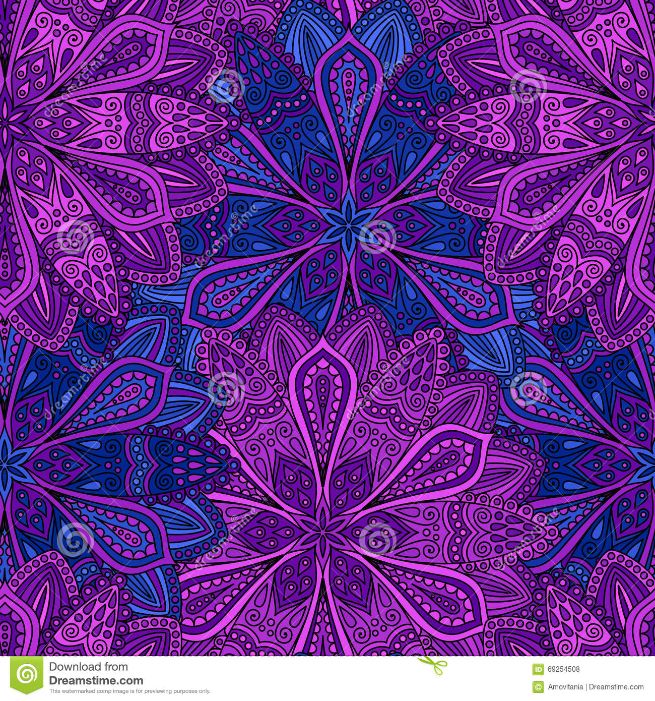 Intricate blue and purple flower pattern stock vector illustration intricate blue and purple flower pattern izmirmasajfo