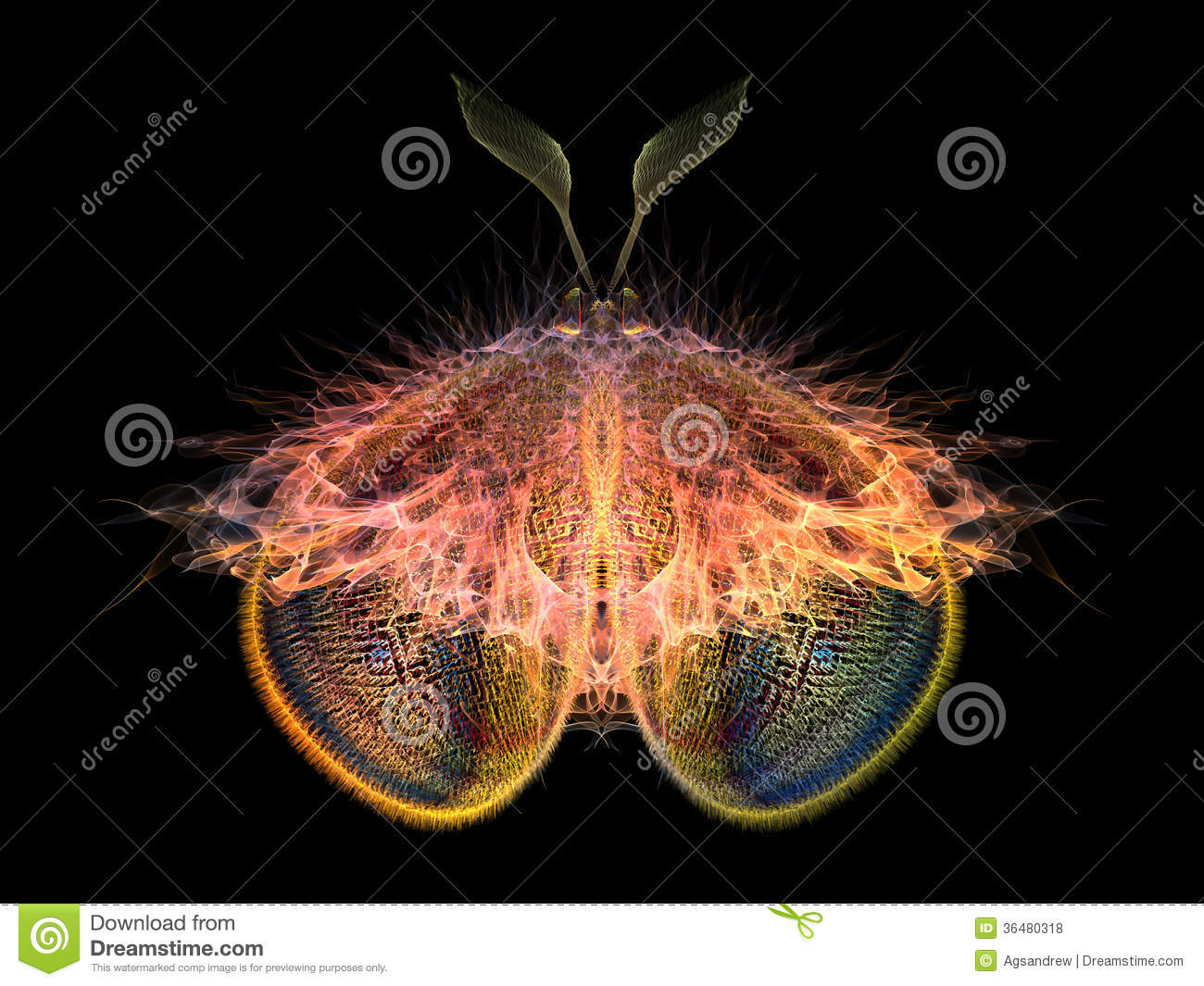 Butterflies of Never series. Abstract design made of fractal organic ...