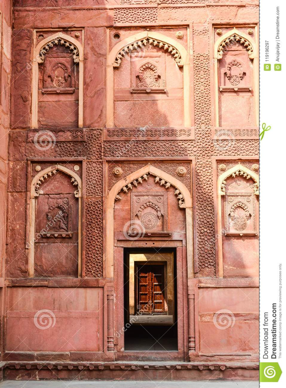 Intricate carvings decorate the Agra Fort in Agra, India