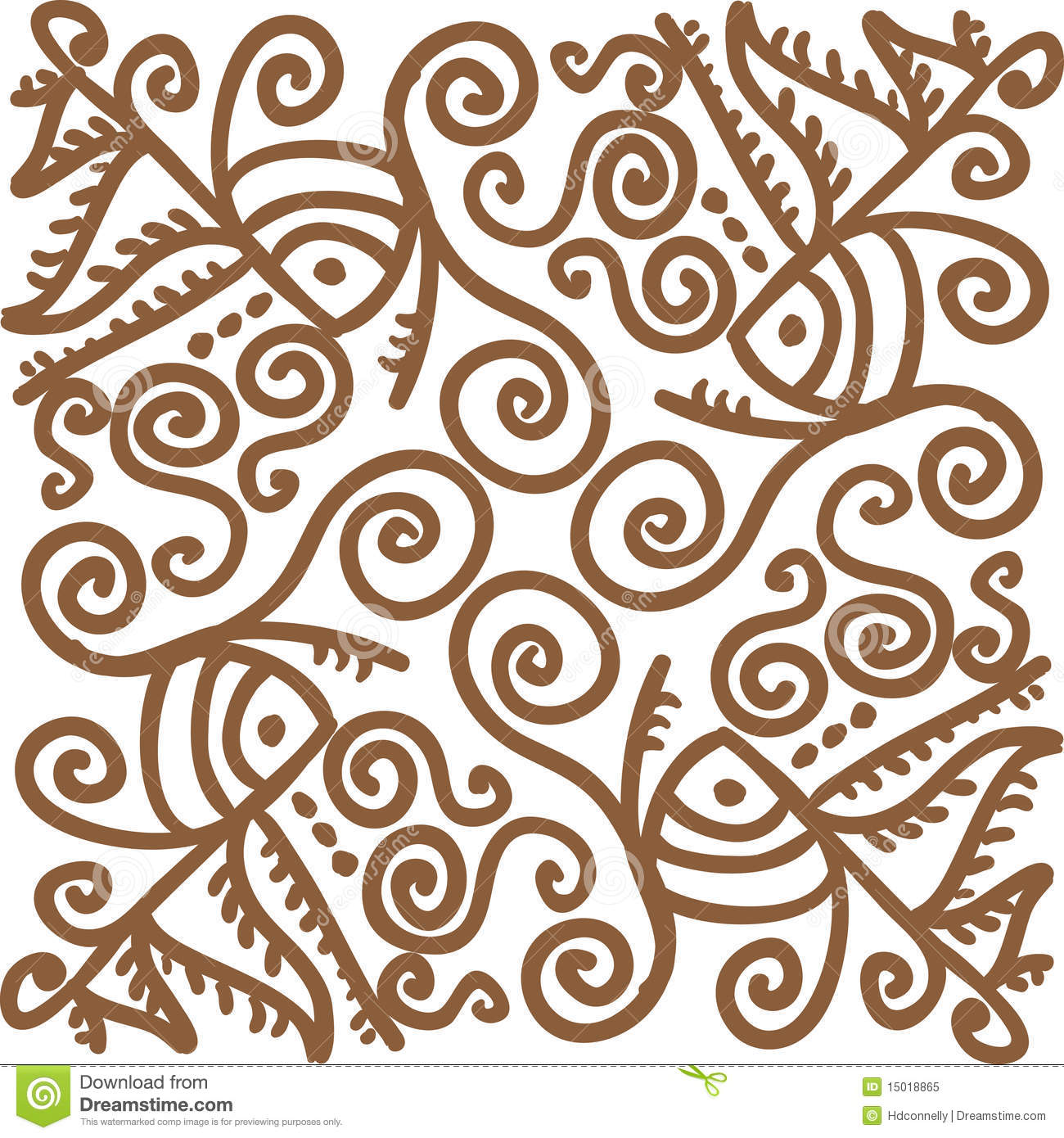 Intricate hand-drawn line art design - for use as border or seamless ...